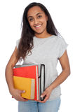 Young Girl Holding Books and Document Organizer. Close up Portrait of a Young Asian Indian Girl Holding Books and Document Organizer While Looking at the Camera Stock Photo