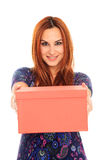 Young girl holding a box Royalty Free Stock Photo