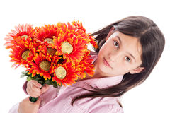 Young Girl Holding a Bunch of Flowers. Royalty Free Stock Photography