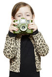 Young girl holding a camera smiling royalty free stock photos