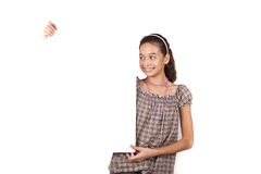 Young girl holding a card royalty free stock images