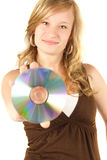 Young girl holding a cd Stock Photography