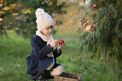 Young girl holding Christmas bauble. A Young girl near of Сhristmas tree Stock Photo
