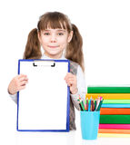 Young girl holding clipboard with blank paper. isolated on white Stock Photo