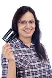 Young girl holding credit card Stock Images