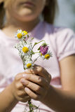 Young girl holding daisy flowers outdoors Stock Images