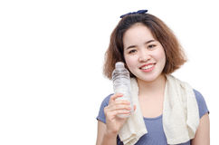 Young girl holding drinking water bottle Stock Photography