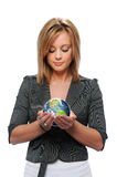 Young girl holding the earth Stock Photos