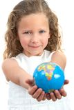 Young girl holding earth sphere. Stock Image
