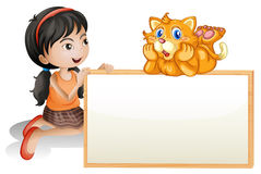 A young girl holding empty signboard with a cat. Illustration of a young girl holding the empty signboard with a cat on a white background Royalty Free Stock Images