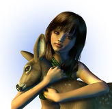 Young Girl Holding a Fawn - includes clipping path. 3D render of a young girl holding a fawn stock illustration
