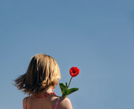 Young girl holding flower. View of young girl holding red flower with backdrop of blue sky Royalty Free Stock Images