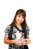 Young girl holding a gift box Stock Image
