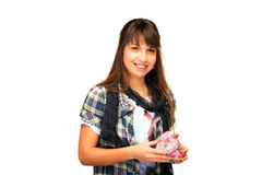 Young girl holding a gift box Stock Images