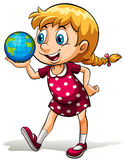 A young girl holding a globe Stock Images