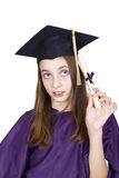 Young girl holding her diploma Stock Images