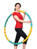 Young girl holding hula hoop Royalty Free Stock Photo