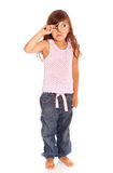 Young girl holding magnifying glass Royalty Free Stock Photos