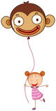A young girl holding a monkey balloon Royalty Free Stock Images