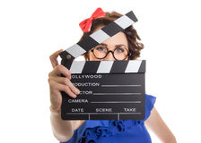 Young girl holding movie clapper Royalty Free Stock Image