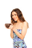 Young girl holding a mug Royalty Free Stock Photos
