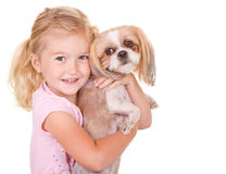 Young girl holding pet dog. Young girl holding her pet dog shih tzu, isolated on white royalty free stock images