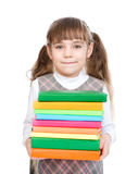 Young girl holding pile books. isolated on white background Stock Photography