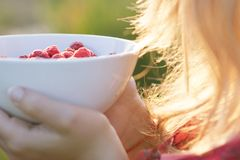 Young girl holding a plate of raspberries, sitting on green grass, summer, dessert Royalty Free Stock Image
