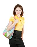 Young girl holding purse Royalty Free Stock Photos