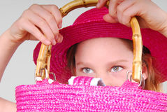 Young Girl Holding Purse Stock Photography