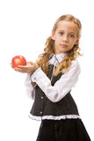 Young girl holding red apple Stock Images