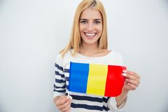 Young girl holding Romanian flag Stock Photo