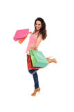 Young girl holding shopping bags Royalty Free Stock Image