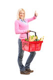 Young girl holding a shopping basket full of groceries Royalty Free Stock Images