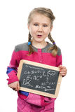 Young girl holding slate Royalty Free Stock Photo