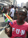 Young girl  holding  South  African flag Stock Image