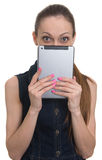 Young girl holding tablet computer Royalty Free Stock Photo
