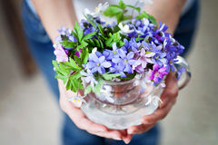 Young girl, holding vase with fresh spring flowers royalty free stock images