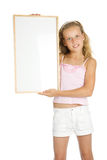 Young girl holding a white banner Royalty Free Stock Photos