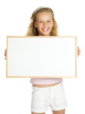 Young girl holding a white banner Stock Photos