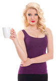 Young girl holding white cup Royalty Free Stock Image