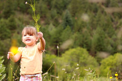 Young Girl Holding Wildflower. Image of a young girl smiling after pulling up a wildflower by the roots Stock Photo