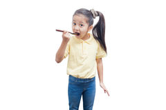 Young girl holding a wooden spoon. Royalty Free Stock Photography