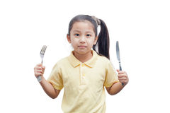 Young girl holding a wooden spoon. Royalty Free Stock Images