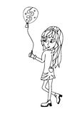 A young girl holds a balloon in hands Royalty Free Stock Image