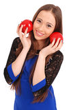 Young girl holds near the face apples Royalty Free Stock Photos
