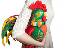 Young girl holds a rooster on  white background. Royalty Free Stock Images
