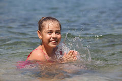 Young girl in holiday Stock Images