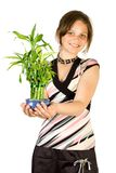 Young girl with home plant. Bamboo. Focus point on face. Isolate on white Royalty Free Stock Images