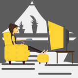 Young girl at home watching TV . Vector Stock Photos